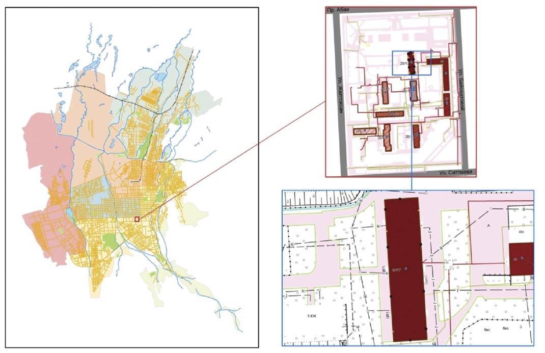 Рисунок 1. Карты административного центра и исследуемых объектов района
